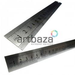 Линейка металлическая c двусторонней шкалой для паспарту, 15 см.