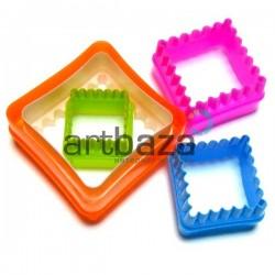 """Набор детских пластиковых каттеров (резаков) для полимерной глины и пластилина, 5 шт., """"Квадрат"""""""