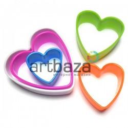 """Набор детских пластиковых каттеров (резаков) для полимерной глины и пластилина, 5 шт., """"Сердце"""""""