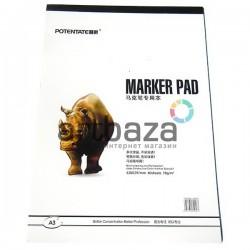 Альбом для маркеров MARKER PAD А3, 70 гр./м², 40 листов, склейка, POTENTATE